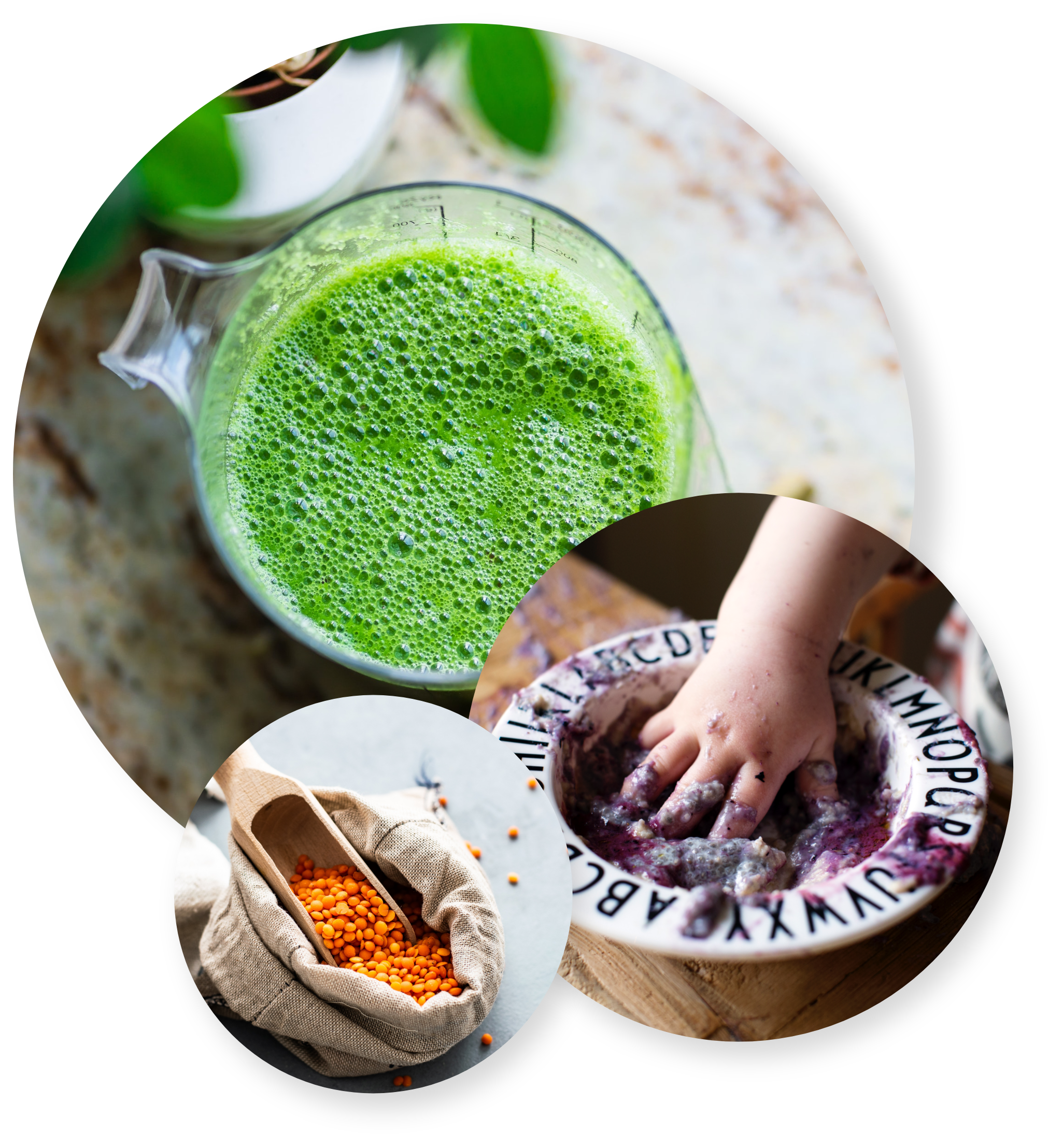 Grön smoothie, ett barn som äter chiapudding med blåbär samt röda linser i en tygpåse
